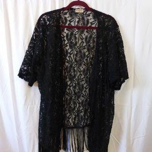 Free Kisses Black Lace Kimono with Fringe 3X